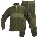 Fleece jakke samt bukser (sæt), vindafvisende, farve:Oliven