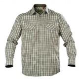 Skjorte fra Graff, farve: Creme/Oliven/Blå ternet